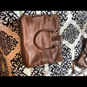 J crew brown leather tote bag